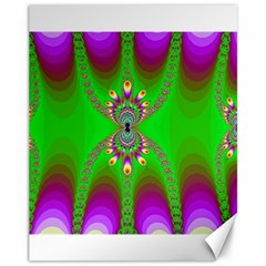Green And Purple Fractal Canvas 11  x 14