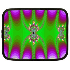 Green And Purple Fractal Netbook Case (large)