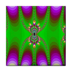 Green And Purple Fractal Face Towel