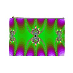 Green And Purple Fractal Cosmetic Bag (large)