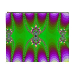 Green And Purple Fractal Cosmetic Bag (xl)