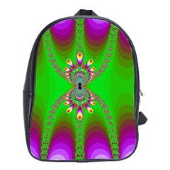 Green And Purple Fractal School Bags(Large)
