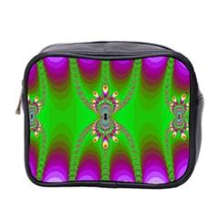 Green And Purple Fractal Mini Toiletries Bag 2 Side