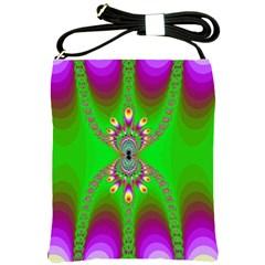 Green And Purple Fractal Shoulder Sling Bags
