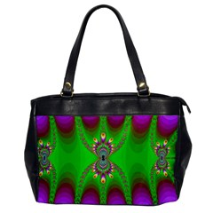 Green And Purple Fractal Office Handbags