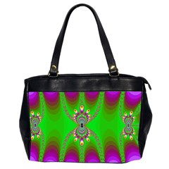 Green And Purple Fractal Office Handbags (2 Sides)