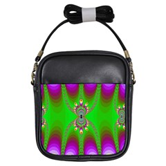 Green And Purple Fractal Girls Sling Bags