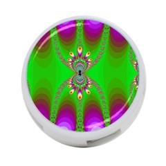 Green And Purple Fractal 4 Port Usb Hub (two Sides)