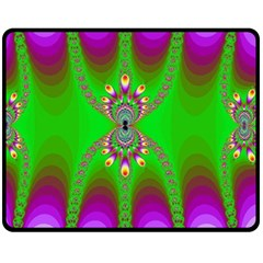 Green And Purple Fractal Fleece Blanket (medium)