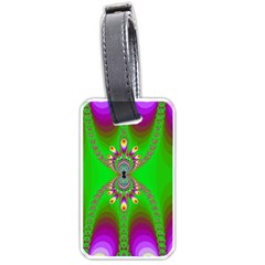 Green And Purple Fractal Luggage Tags (one Side)