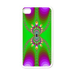 Green And Purple Fractal Apple Iphone 4 Case (white)
