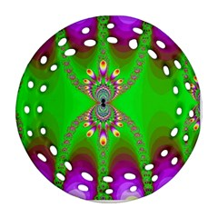 Green And Purple Fractal Ornament (round Filigree)
