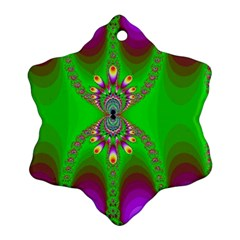 Green And Purple Fractal Snowflake Ornament (two Sides)