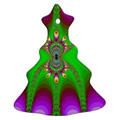 Green And Purple Fractal Christmas Tree Ornament (two Sides)