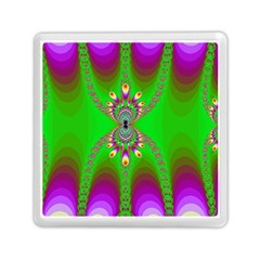 Green And Purple Fractal Memory Card Reader (square)