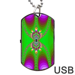 Green And Purple Fractal Dog Tag Usb Flash (one Side)