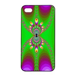 Green And Purple Fractal Apple Iphone 4/4s Seamless Case (black)
