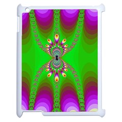 Green And Purple Fractal Apple Ipad 2 Case (white)