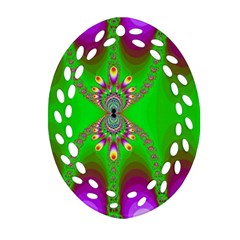 Green And Purple Fractal Ornament (oval Filigree)