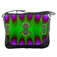Green And Purple Fractal Messenger Bags