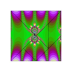 Green And Purple Fractal Acrylic Tangram Puzzle (4  X 4 )