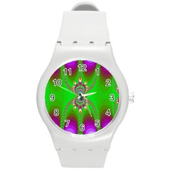 Green And Purple Fractal Round Plastic Sport Watch (m)