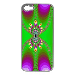 Green And Purple Fractal Apple Iphone 5 Case (silver)