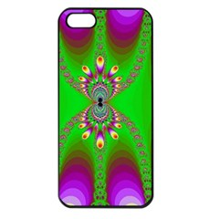 Green And Purple Fractal Apple Iphone 5 Seamless Case (black)