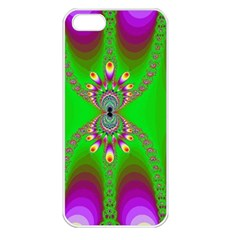 Green And Purple Fractal Apple Iphone 5 Seamless Case (white)