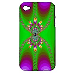 Green And Purple Fractal Apple Iphone 4/4s Hardshell Case (pc+silicone)