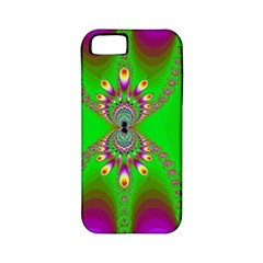 Green And Purple Fractal Apple Iphone 5 Classic Hardshell Case (pc+silicone)