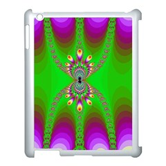Green And Purple Fractal Apple Ipad 3/4 Case (white)