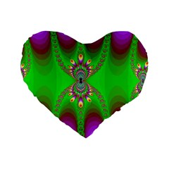 Green And Purple Fractal Standard 16  Premium Heart Shape Cushions