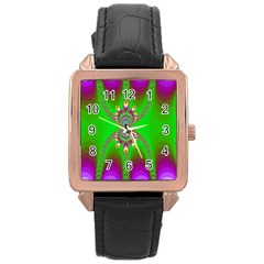 Green And Purple Fractal Rose Gold Leather Watch