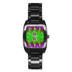 Green And Purple Fractal Stainless Steel Barrel Watch