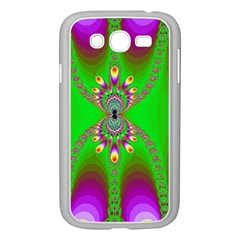 Green And Purple Fractal Samsung Galaxy Grand Duos I9082 Case (white)