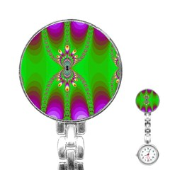Green And Purple Fractal Stainless Steel Nurses Watch