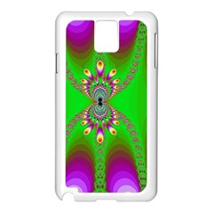 Green And Purple Fractal Samsung Galaxy Note 3 N9005 Case (white)