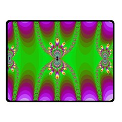 Green And Purple Fractal Double Sided Fleece Blanket (small)