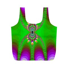 Green And Purple Fractal Full Print Recycle Bags (m)