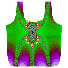 Green And Purple Fractal Full Print Recycle Bags (l)