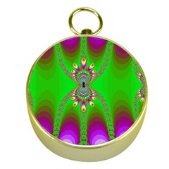 Green And Purple Fractal Gold Compasses