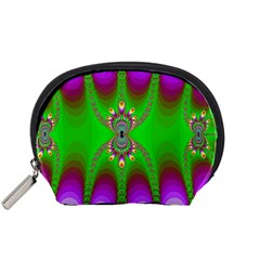 Green And Purple Fractal Accessory Pouches (small)