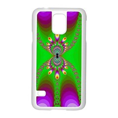 Green And Purple Fractal Samsung Galaxy S5 Case (white)