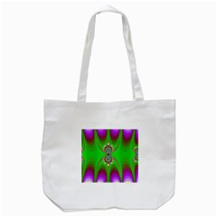 Green And Purple Fractal Tote Bag (white)