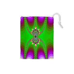 Green And Purple Fractal Drawstring Pouches (small)