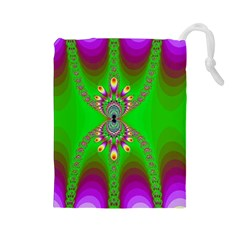 Green And Purple Fractal Drawstring Pouches (large)