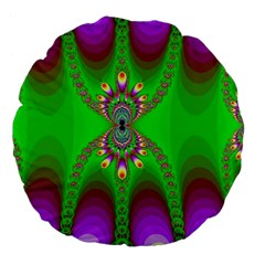 Green And Purple Fractal Large 18  Premium Flano Round Cushions