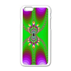 Green And Purple Fractal Apple iPhone 6/6S White Enamel Case