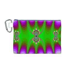 Green And Purple Fractal Canvas Cosmetic Bag (m)